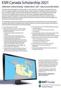 Esri Canada Scholarship 2021 Applications Due March 1, 2021